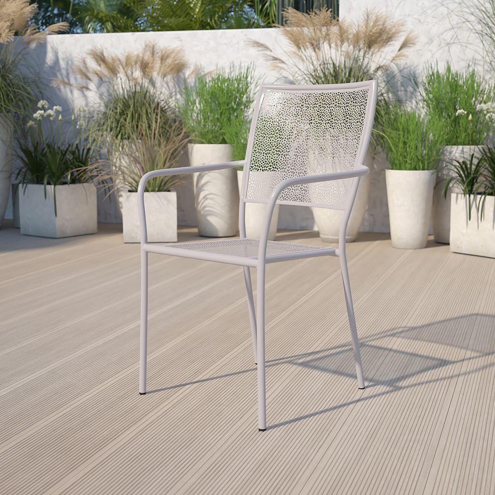 Flash Furniture Chaise de jardin en acier gris clair à dossier carré, intérieur-extérieur