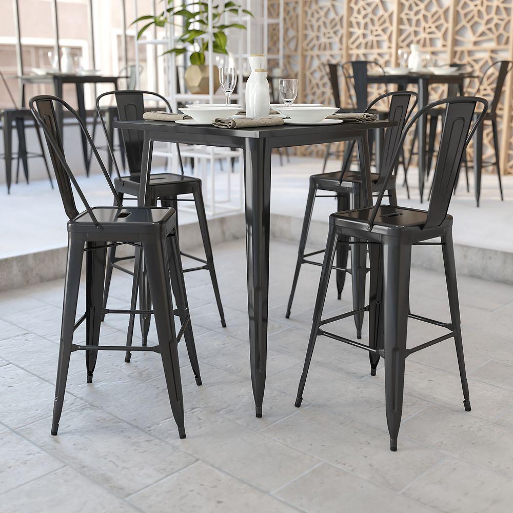 Flash Furniture Table à la hauteur du bar intérieur-extérieur en métal noir carrée de 31,5 po de côté