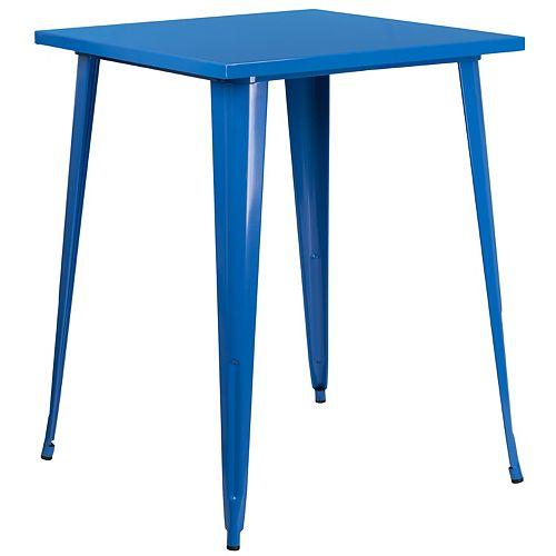 31.5SQ Blue Metal Bar Table