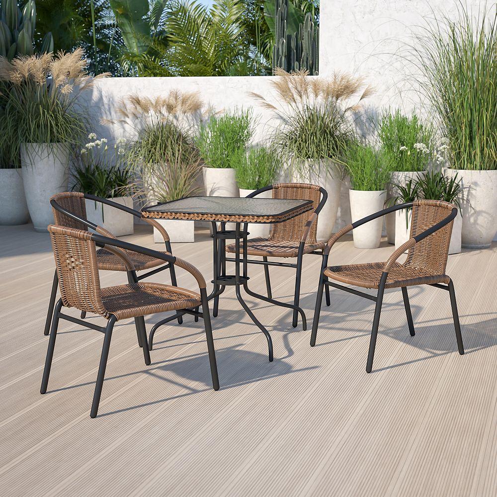 Flash Furniture 28SQ Glass Table-BRN Rattan
