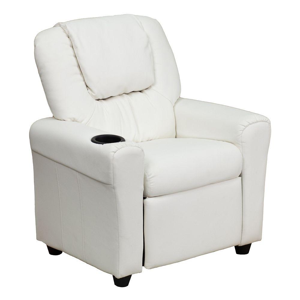 Flash Furniture White Vinyl Kids Recliner
