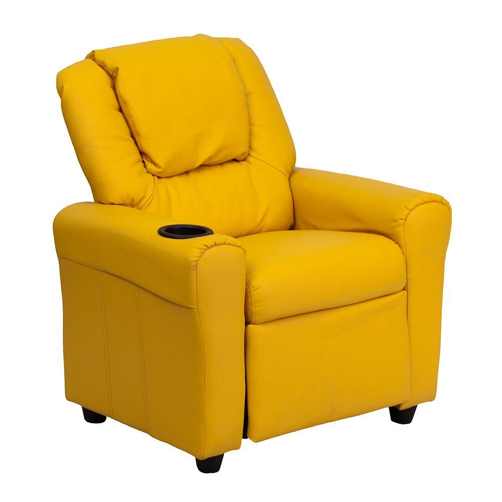 Flash Furniture Fauteuil inclinable contemporain pour enfants en vinyle jaune avec porte-gobelet et appui-tête