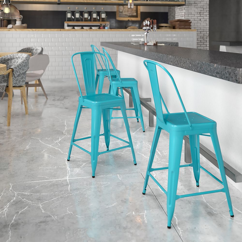 "Flash Furniture ""24"""" Teal Metal Outdoor Stool"""