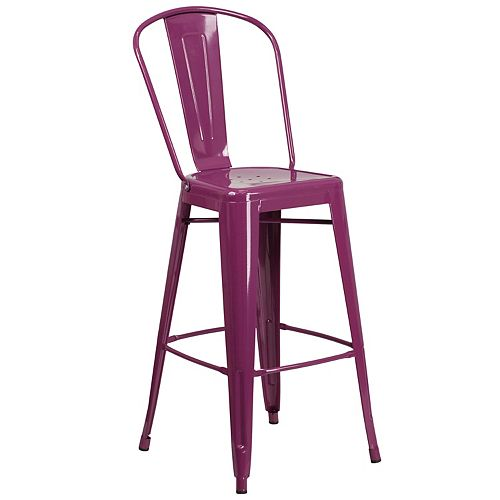 """30"""" Purp Metal Outdoor Stool"""
