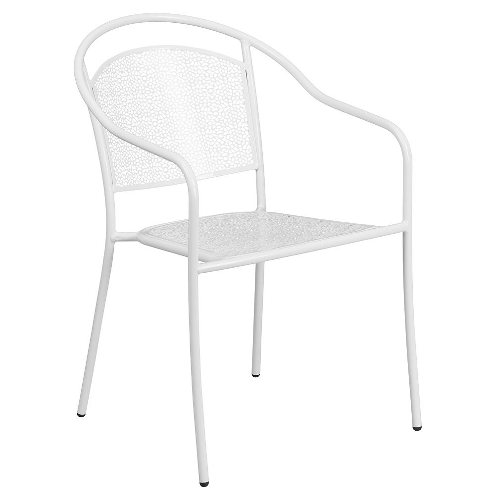 Flash Furniture White Round Back Patio Chair