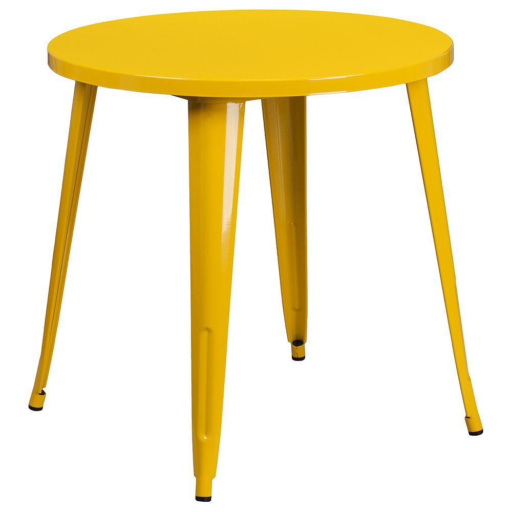 Flash Furniture Table intérieure-extérieure en métal jaune ronde de 30 po