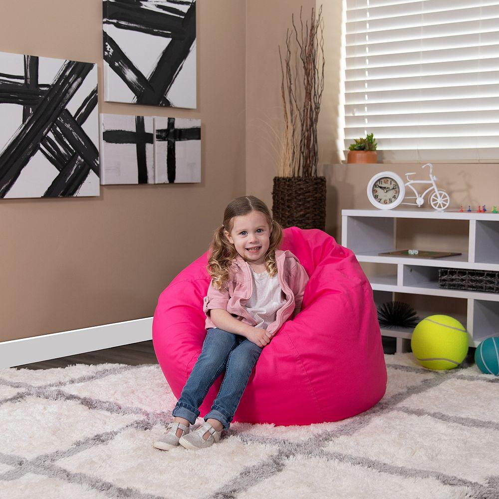 Flash Furniture Petit fauteuil poire rose chaud plein pour enfants
