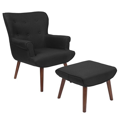 Black Fabric Wing Chair/OTT