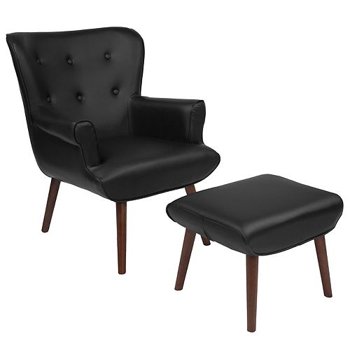 Black Leather Wing Chair/OTT