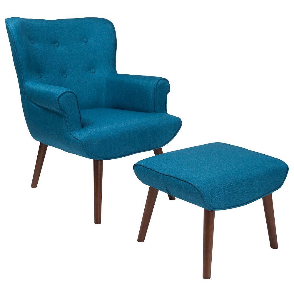 Flash Furniture Fauteuil Bayton avec ailes latérales rembourré avec pouf en tissu bleu
