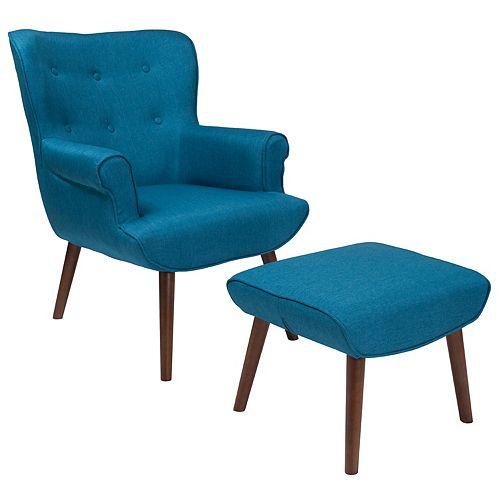 Blue Fabric Wing Chair/OTT