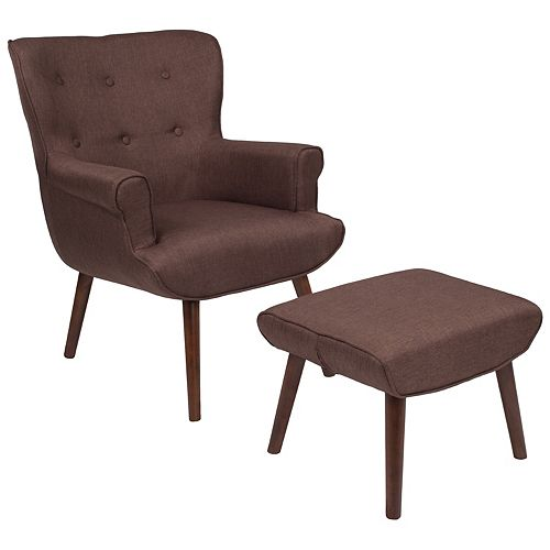 Brown Fabric Wing Chair/OTT