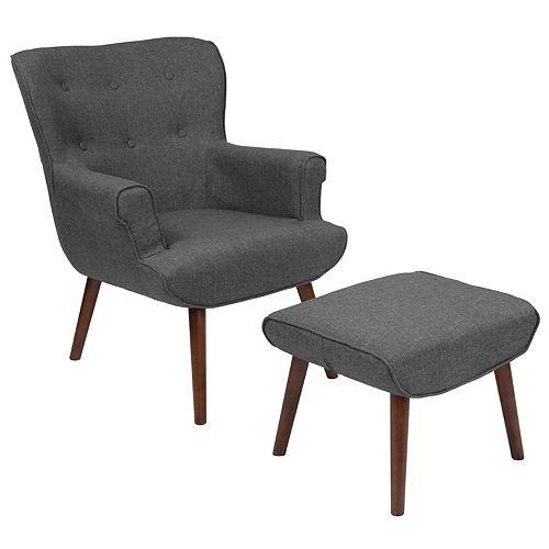 Dk Gray Fabric Wing Chair/OTT