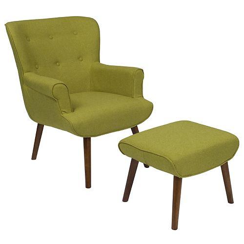 Green Fabric Wing Chair/OTT