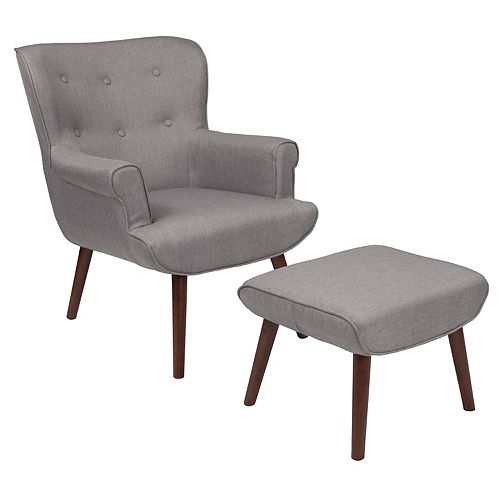 Lt Gray Fabric Wing Chair/OTT