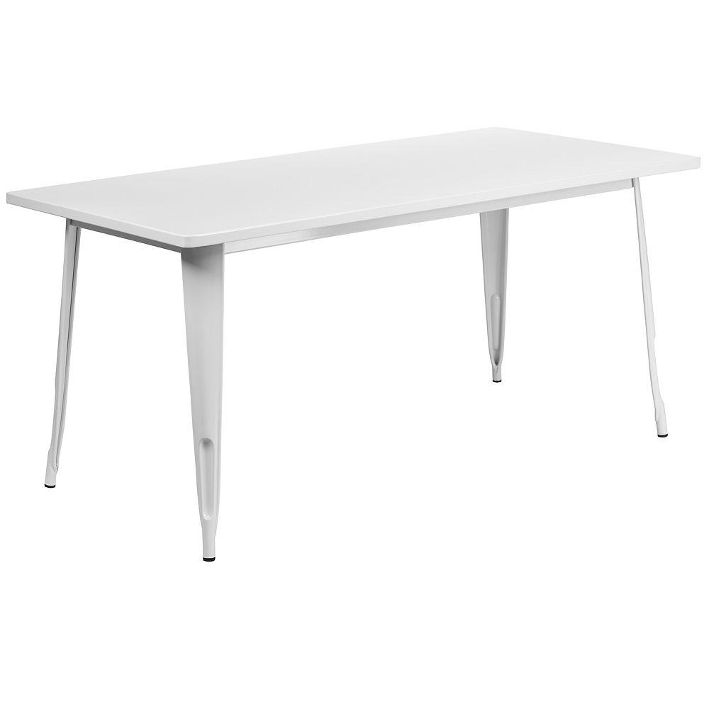 Flash Furniture 31.5x63 White Metal Table