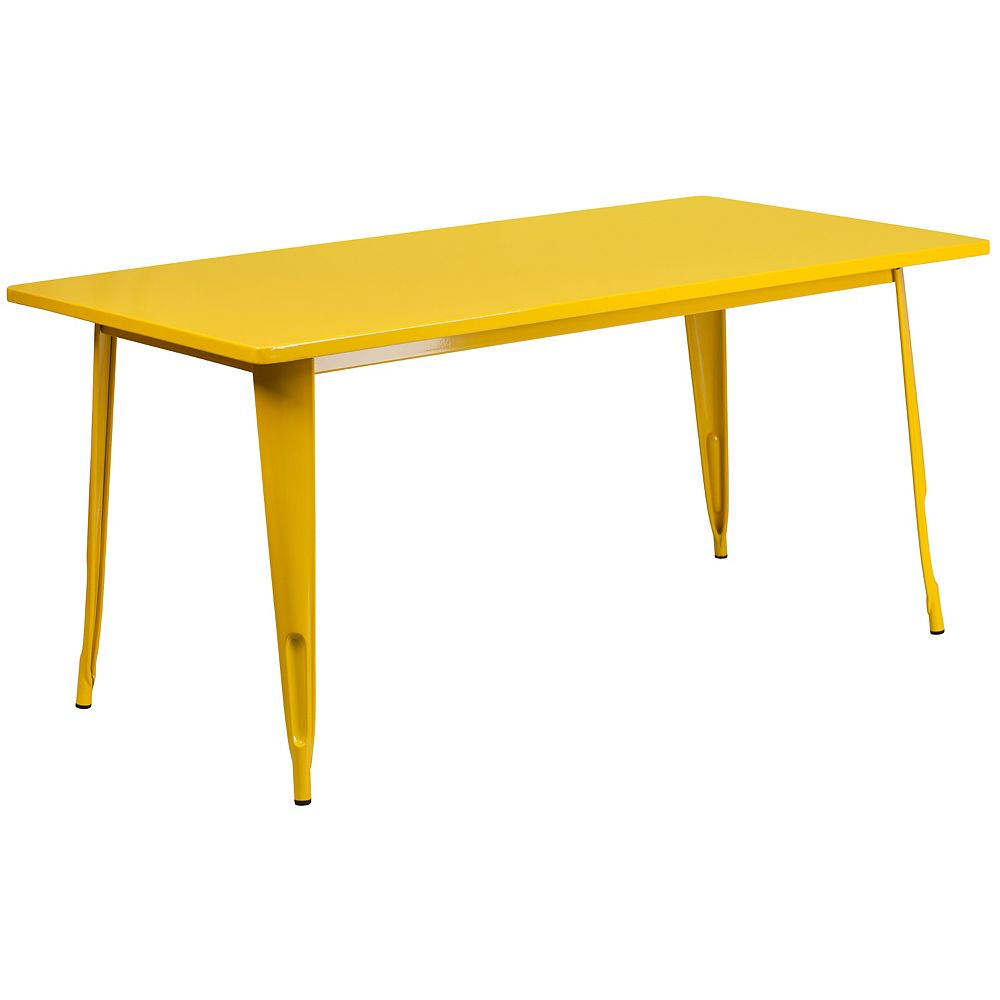 Flash Furniture 31.5x63 Yellow Metal Table