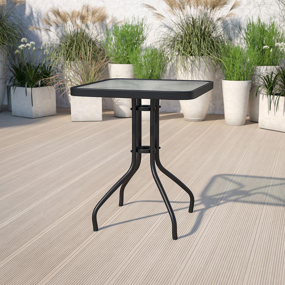 Flash Furniture 23.5SQ Glass Black Patio Table