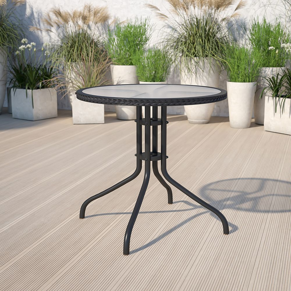 Flash Furniture 28RD Glass Table-BLK Rattan
