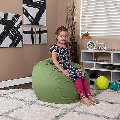 Petit fauteuil poire vert plein pour enfants
