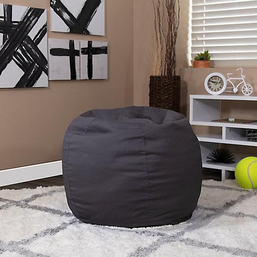 Petit fauteuil poire gris plein pour enfant
