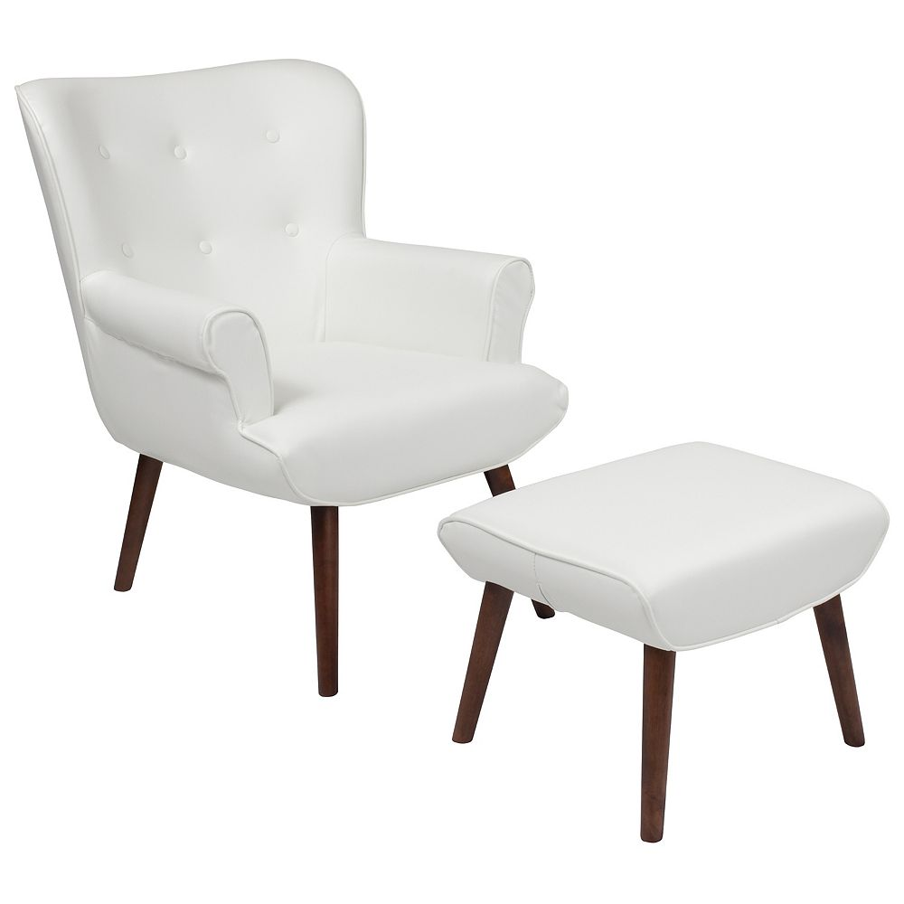Flash Furniture White Leather Wing Chair/OTT