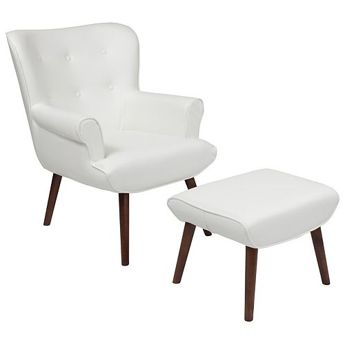 White Leather Wing Chair/OTT