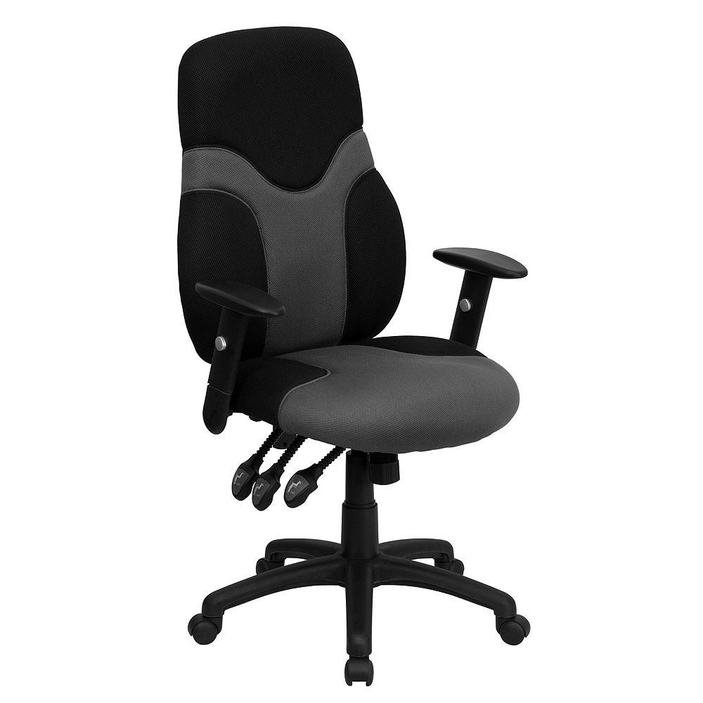 Flash Furniture Chaise 500LB noire/grise à dossier haut