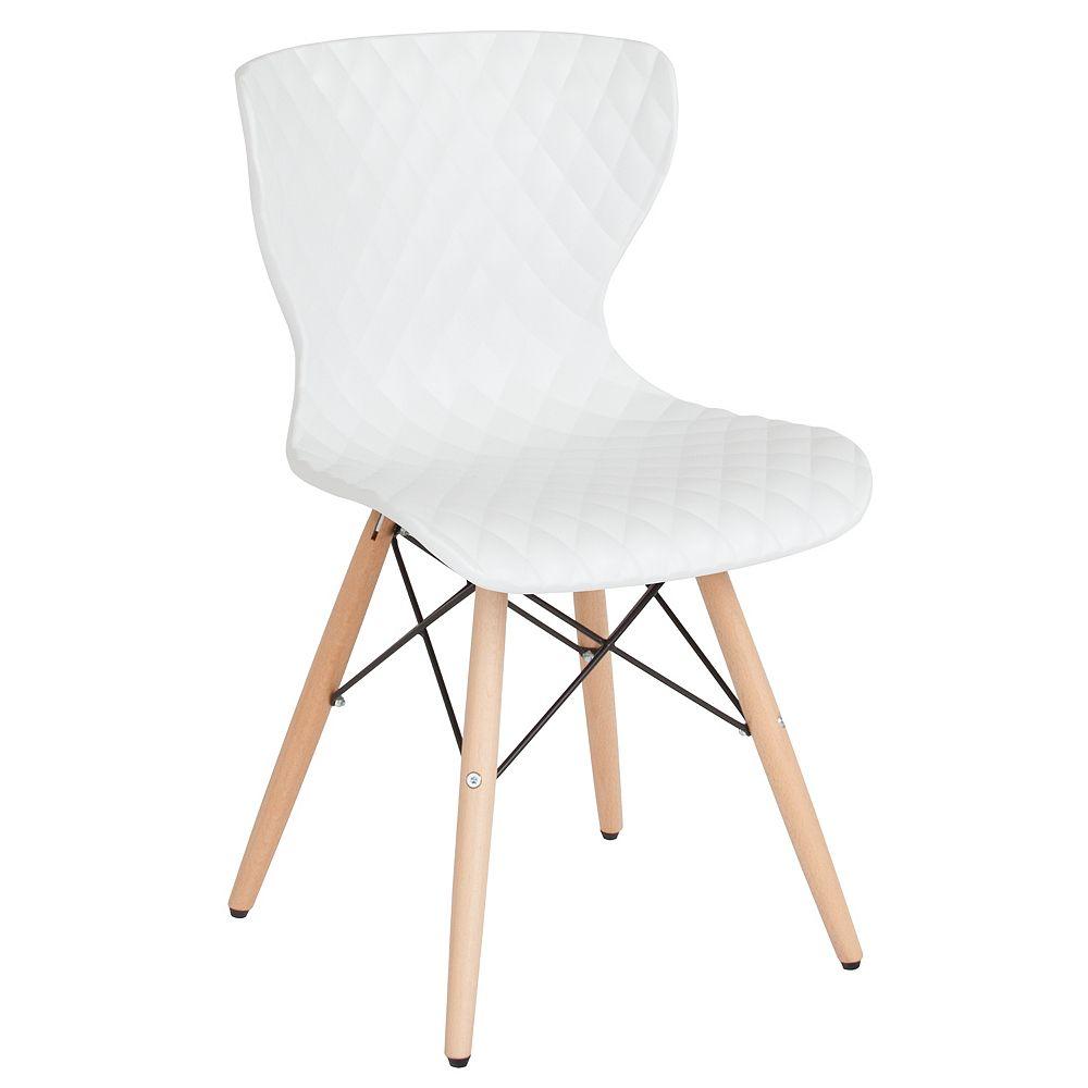 Flash Furniture Chaise Bedford au design contemporain en plastique blanc avec pieds en bois