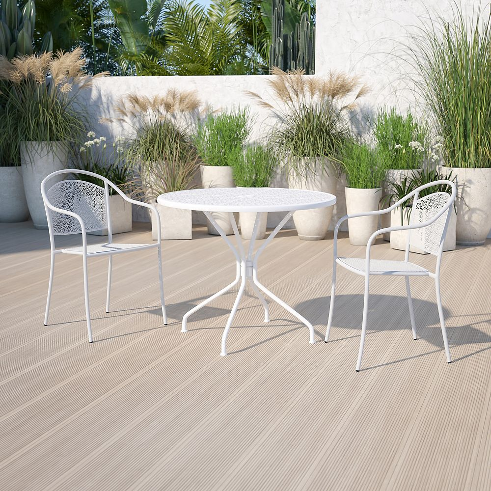 Flash Furniture 35.25RD White Patio Table