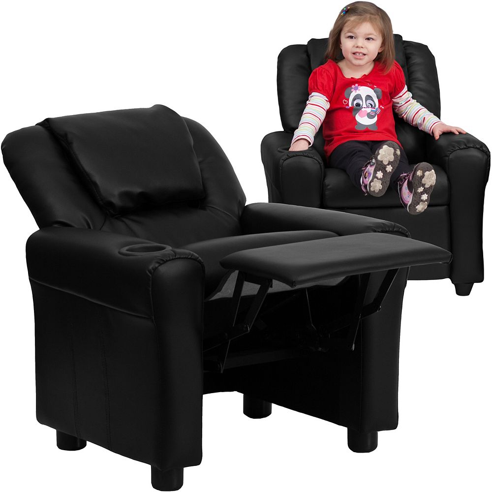 Flash Furniture Black Leather Kids Recliner