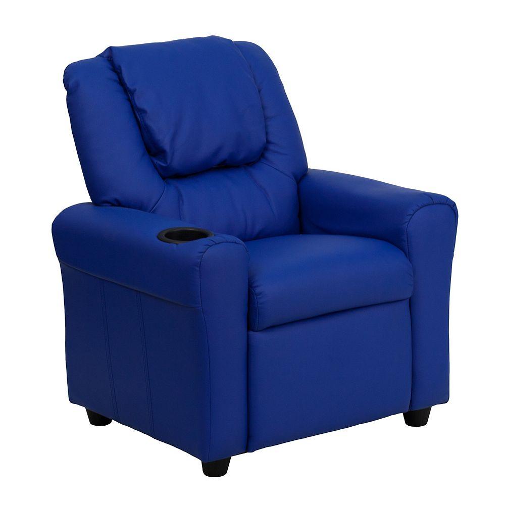 Flash Furniture Fauteuil inclinable contemporain pour enfants en vinyle bleu avec porte-gobelet et appui-tête