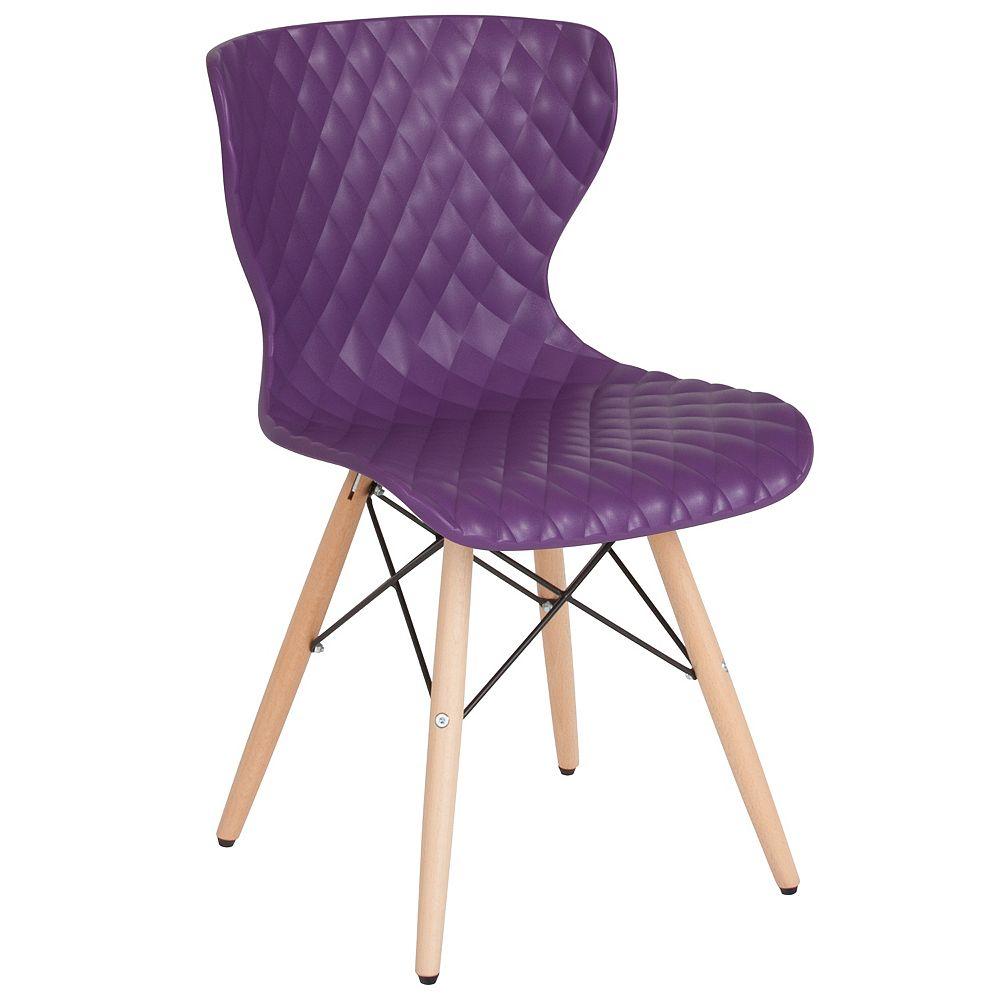 Flash Furniture Purple Plastic Chair-Wood Legs