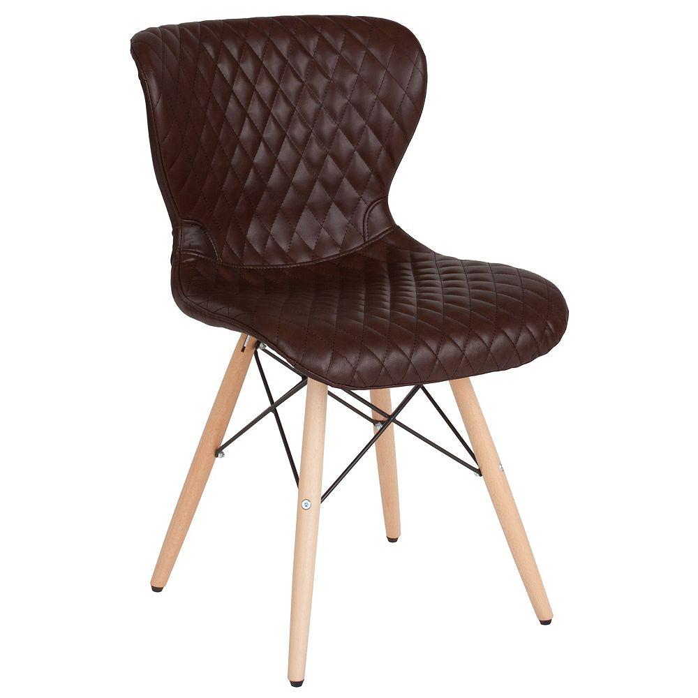Flash Furniture Brown Vinyl Chair-Wood Legs