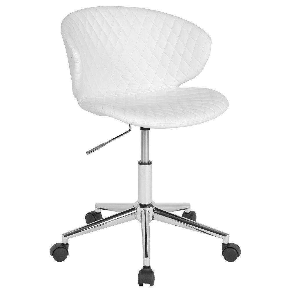 Flash Furniture Chaise Cambridge pour la maison et le bureau rembourrée en vinyle blanc à dossier bas