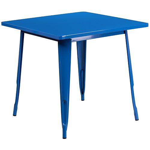 31.5SQ Blue Metal Table
