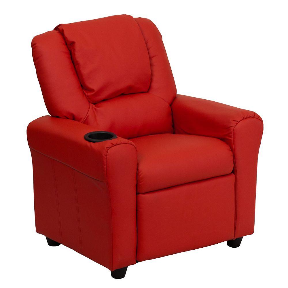 Flash Furniture Fauteuil inclinable contemporain pour enfants en vinyle rouge avec porte-gobelet et appui-tête