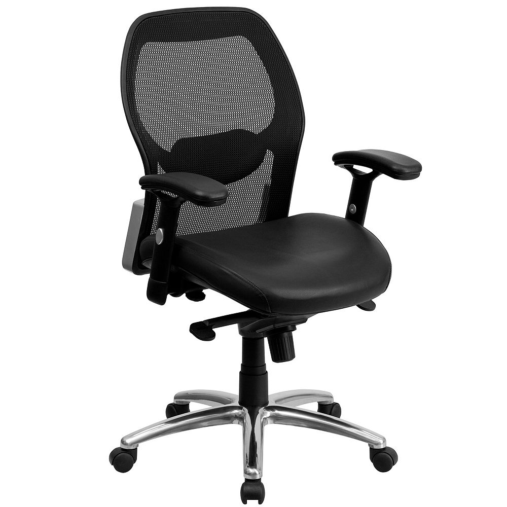 Flash Furniture Black Mid-Back Leather Chair