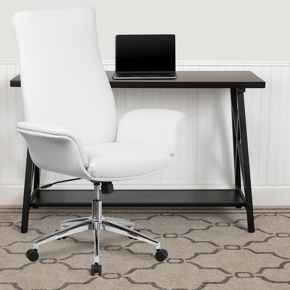 Flash Furniture White High Back Leather Chair