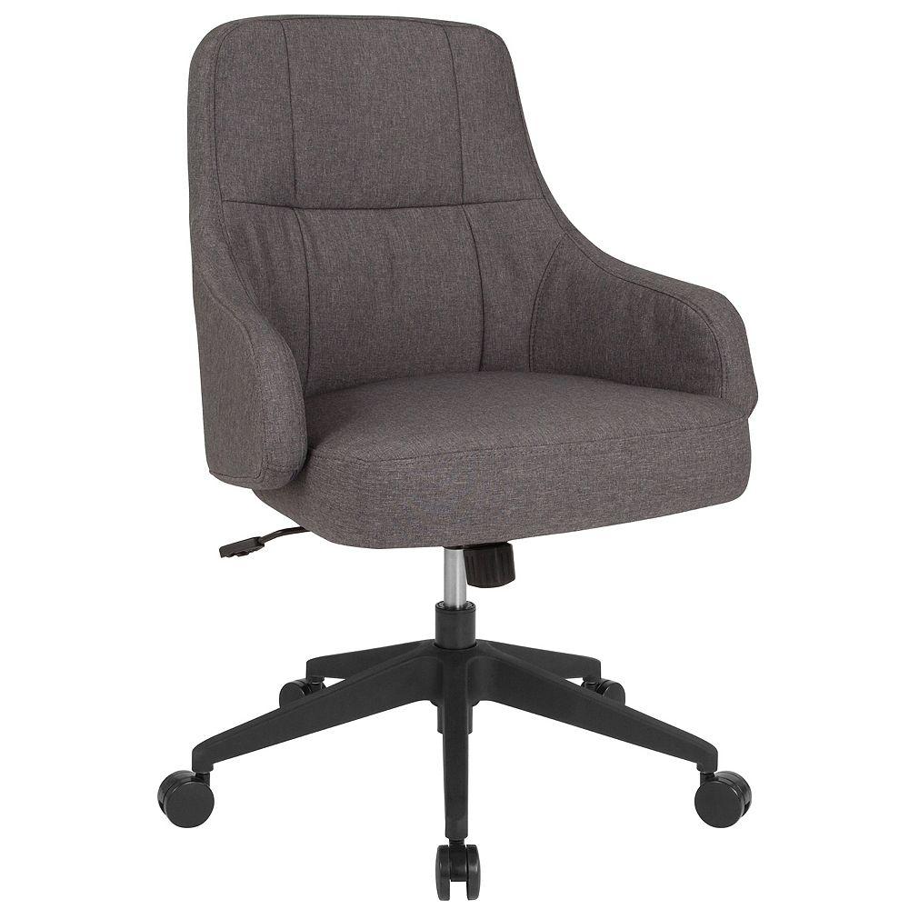 Flash Furniture Chaise Dinan de bureau et de la maison à dossier mi-hauteur rembourrée en tissu gris foncé