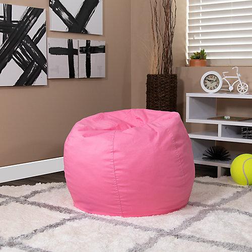 Petit fauteuil poire rose clair plein pour enfants