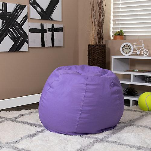 Petit fauteuil poire violet plein pour enfants