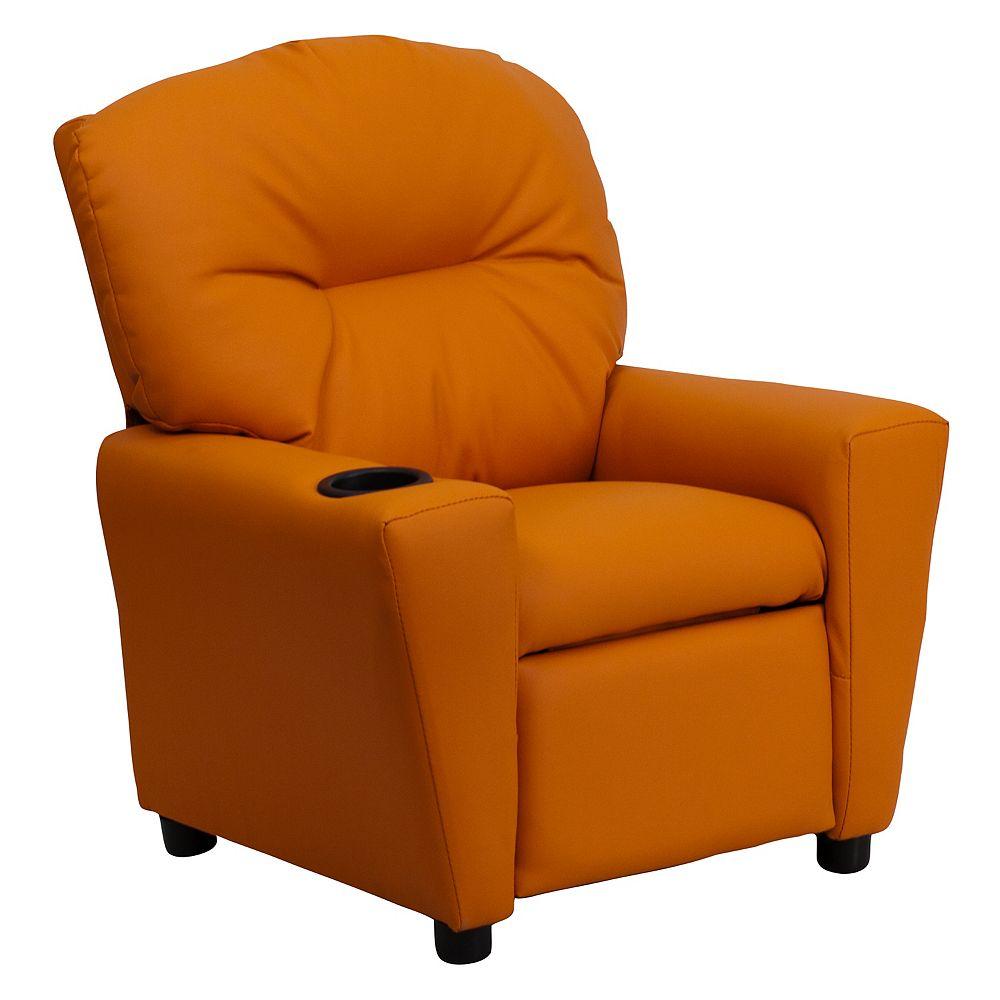 Flash Furniture Orange Vinyl Kids Recliner