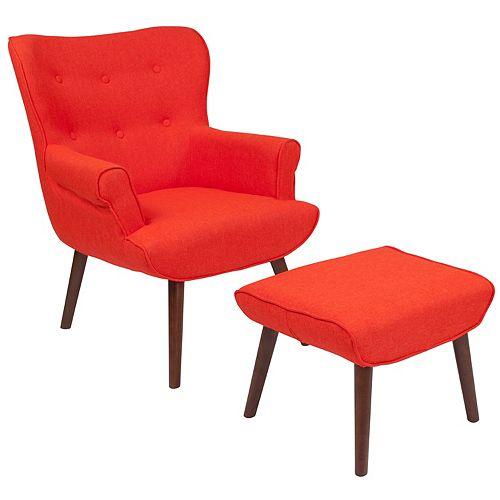 Orange Fabric Wing Chair/OTT
