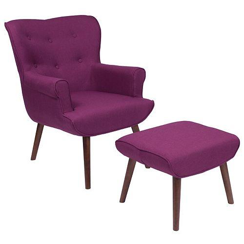 Purple Fabric Wing Chair/OTT