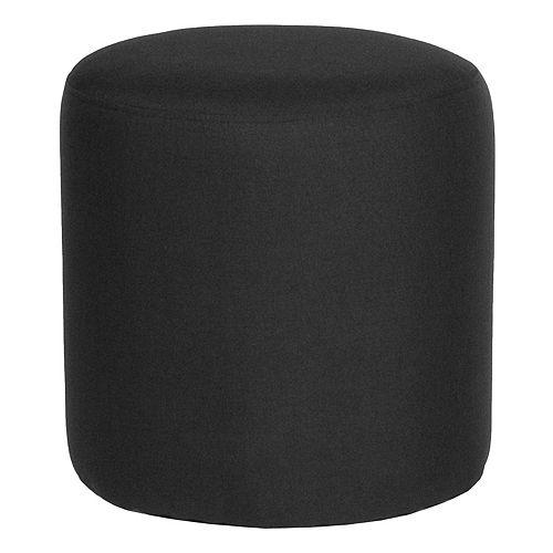 Black Fabric Round Pouf