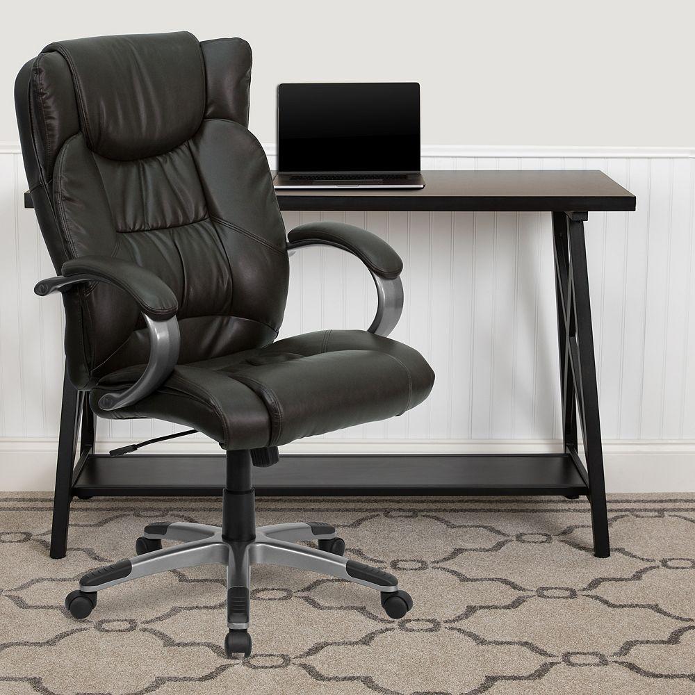 Flash Furniture Chaise à dossier haut en cuir brun