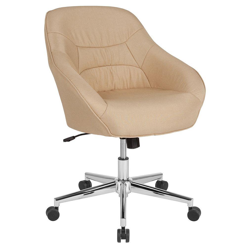Flash Furniture Beige Fabric Mid-Back Chair