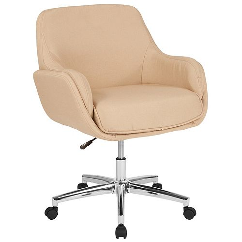 Beige Fabric Mid-Back Chair
