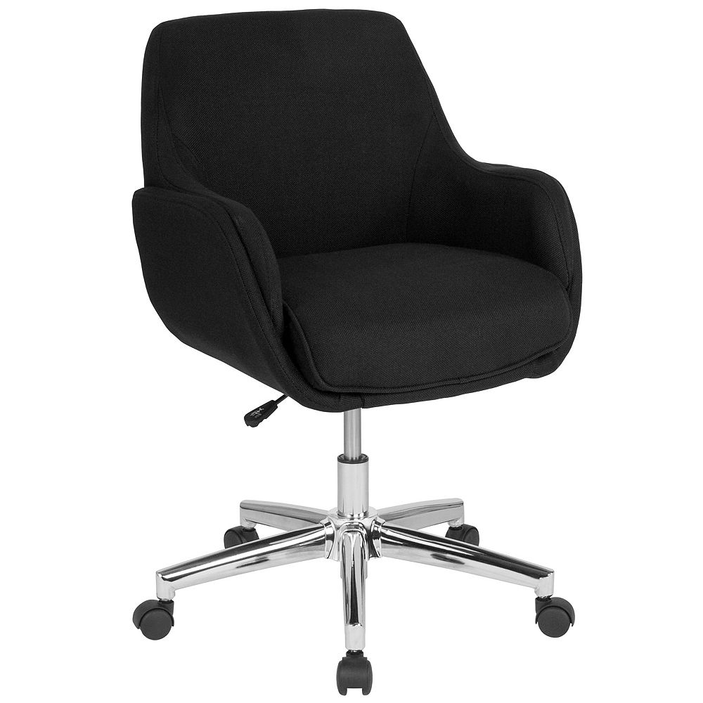 Flash Furniture Black Fabric Mid-Back Chair